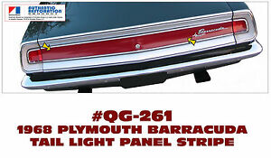 GE-QG-261 1968 PLYMOUTH BARRACUDA - REAR TAIL LIGHT PANEL STRIPE - LICENSED