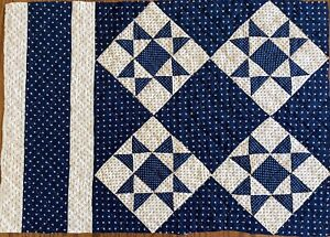"""Antique Cutter Quilt Piece Early 1900's 18""""X25"""" Navy Cream Calicos Never Washed"""