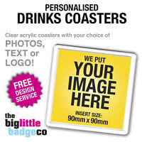 PERSONALISED ACRYLIC COASTERS / DRINKS MATS (insert size 9cm x 9cm)
