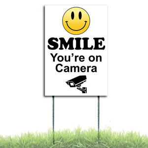 Smile You're On Camera Security Surveillance Plastic W/Stakes Coroplast Sign