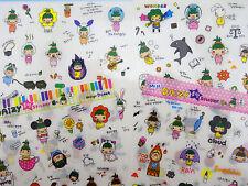 4 Sheets Korean girl stickers! Kawaii emoticon emoji, tea dessert, sushi food