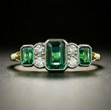 2.60Ct Emerald Cut Green Emerald Unique Wedding Band Ring 14k Yellow Gold Finish