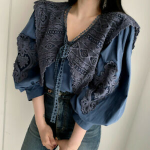 Chic Women's Floral Lace Blouse Lapel V Neck Puff Sleeves Casual Tops Shirt