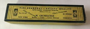 Vintage Art Supplies Black Charcoal Drawing Sticks Lot Used in M. Grumbacher Box