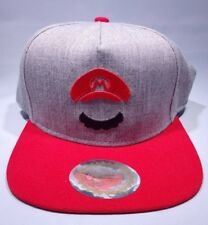 Nintendo Cap and Mustache Brimmed Hat - Gray Red Size Adult