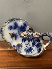 Flow Blue 1840s Teapot & Stand Hand Painted