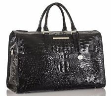 ❤️BRAHMIN TRAVELER BLACK DUFFEL LUGGAGE OVERNIGHT BAG CROC LEATHER ~ WEEKENDER❤️