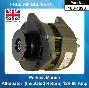 Alternator For Perkins Marine AAK1382 AAK3301 12V 80Amp (Insulated Return)