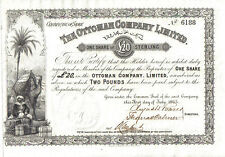 Turkey UK GB 1865 Ottoman Company Limited 1 share £20 Uncancelled Deco Scarce EF