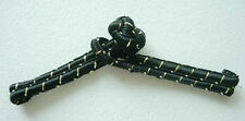 FG309 Traditional Chinese Frog Closure Buttons Knots Black Gold Trim 10pairs