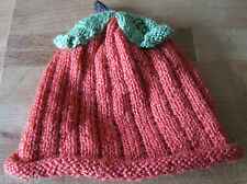 HAND KNITTED ORGANIC ALLOTMENT PUMPKIN HAT. HALLOWEEN AGE 3-6M