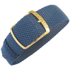 18mm EULIT Kristall Blue Woven Nylon Perlon GOLD Buckle German Watch Band Strap