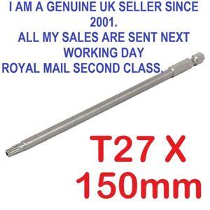 "1/4"" Hex Shank 150mm Long T27 Magnetic Torx Security Screwdriver Bit"
