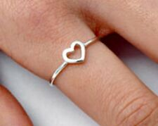 .925 Sterling Silver Ring size 6 Heart Midi Baby Fashion Kids Ladies New p94
