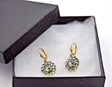 Genuine Catherine Popesco Pavé Oval Swarovski Gold Plated Earrings #6151