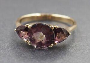 Rhodolite Garnet Womens Ring 9ct Yellow Gold Fine Jewellery Band Size O