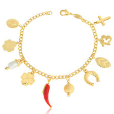 14k Gold Filled Bracelet Set-10 Lucky Charms Beads Women Jewelry Suerte Yoga
