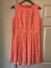BNWT Ladies M&S Neon Orange Lace Dress UK Size 14 Petite Party