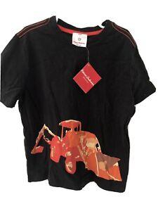 $22 NWT Hanna Andersson Boys Black Bulldozer Construction S/S Tee Shirt 130  8