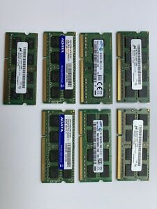 Lot of 7 modules x 4GB Mixed Brands PC3/PC3L -12800S 1Rx8/2Rx8 Laptop Memory