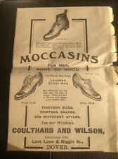D5-1 ephemera 1914 Article Dover Advert Moccasins Coulthard And Wilson Shoes