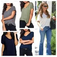 WOMENS LADIES BAGGY LOOSE FIT V NECK TURN UP SHORT SLEEVE TOP T SHIRTS 8-26
