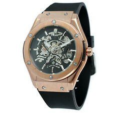 Mens Designer Big Watch Style Fusion Bang Skeleton Clear godsjunkyard ROSE GOLD