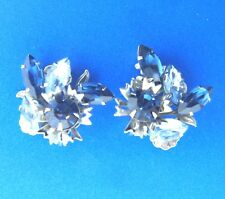 Vintage Blue Crystal Rhinestone Floral Clip On Earrings 1.5