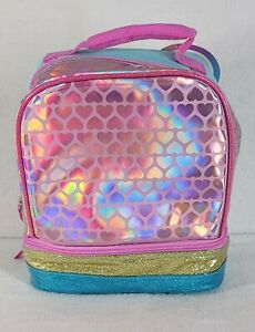 Heart & Glitter Design Dual Compartment Insulated Lunch Bag