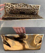 Hobo International Large Clutch Wallet GOLD Animal Print Leopard Organizer Bag