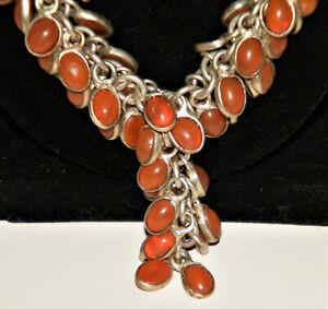 One-Of-A-Kind Vtg Orange AMBER BEADS SET IN 925 STERLING SILVER NECKLACE Tassel