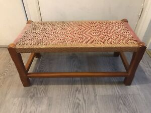 Vintage Wicker Foot Stool Foot Rest Bench Seat