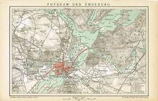 Karte POTSDAM und UMGEBUNG 1895 Original-Graphik