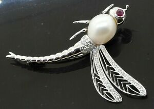 Heavy 18K white gold 0.47CT diamond pearl ruby dragonfly brooch