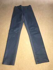 Joseph Pale Blue Leggings in Leather and Gaberdine Stretch 40