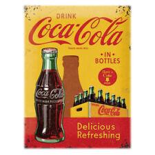 More details for coca cola vintage wall advertising retro metal sign plaque drink pop garage uk