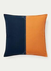"""Ralph Lauren Casey Color-Block 20"""" x 20"""" Decorative Pillow $120 Navy/Orange"""