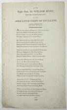 SCARCE BROADSIDE BALLAD Right Hon Sir William Scott POETRY James Townley 1799