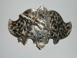 Antique Russian Silver Niello Enameled Buckle 1898 -1908 Kokoshnik Hallmark