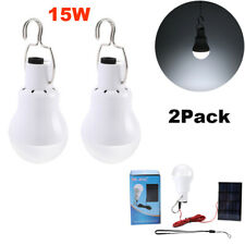 2Pack 15W Rechargeable Solar Powered LED Bulb Light Camping Tent Emergency Lamp