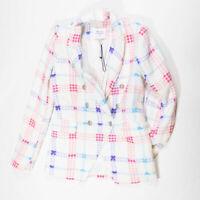 NEW Maison D'Amelie Blue Pink White Multicolor Tweed Boucle Blazer Jacket Small