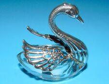 Beautiful STERLING Silver SPREAD  WING SWAN DIVIDED CRYSTAL SALT CELLAR DISH.