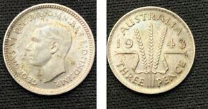 1943-d Australia   3 Pence Coin    .925 Silver      ASW .0419 Tr Oz     #644