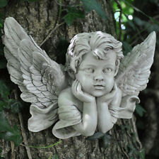 Antique Cherub Ornament Head in Hands Angel Sculpture Vintage Stylish Baby 39704