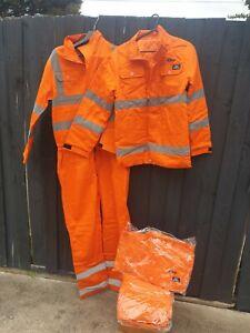 FR PPE2  ATPV 8.7 cal/cm2 jacket pants pilot  suit orange reflective XXL