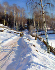 Monsted Mork Peder Sleigh Ride On A Sunny Winter Day Canvas 16 x 20      #5277