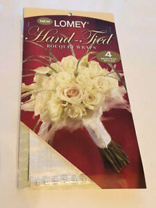 Lomey Hand-tied Bouquet Wraps Ivory/White Silk with Pearl Trim - Wedding Bouquet