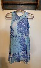 Calvin Klein Blue Patterned Sleeveless Slip Dress Lined Women Size 10P