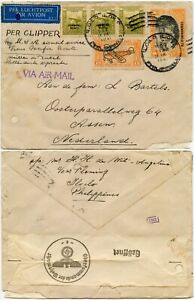 WW2 PACIFIC AIRMAIL 1941 PHILIPPINES to ASSEN 3rd REICH CENSORED PAA CLIPPER