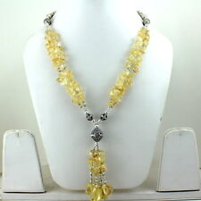 NECKLACE NATURAL CITRINE CHIPS GEMSTONE BEADED HANDMADE SILVER PLATED 78 GRAMS